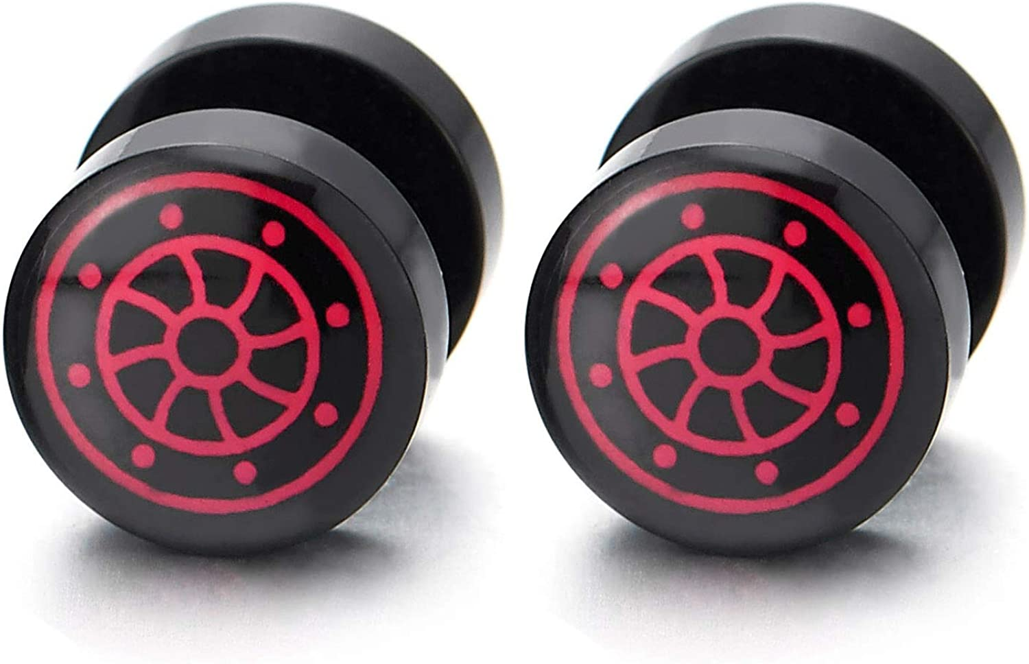 Mens Women 10MM Black Circle Stud Earring with Red Marine Rudder Steel Cheater Fake Ear Plugs Gauges