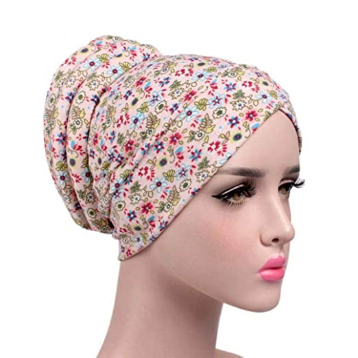 73c334bcafa2b Hunputa Womens Hat Winter Chemo Cap Womens Soft Printed Beanie Sleep Turban  Hat Headwear for Cancer Patients (A) at Amazon Women s Clothing store