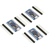 KeeYees Pro Micro ATmega32U4 5V 16MHz Micro USB Placa de Desarrollo Módulo Microcontrolador para Arduino IDE Leonardo Bootloader (3 Piezas)