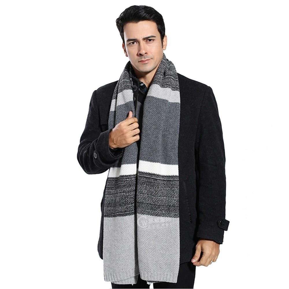 Winter Cashmere Scarf for Men - Color Block Stripe Wool Knitted Fashion Long Scarves (Gray)