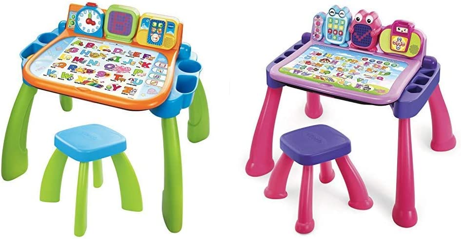 VTech Touch and Learn Activity Desk (Frustration Free Packaging), Green & Touch and Learn Activity Desk Deluxe, Pink