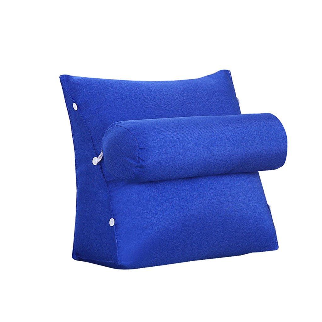 HN Bed pillows Bedside Triangle Pillow Lumbar Pillow With Headrest Backrest Waist Pads Sofa Bed Headrest Office Pillow Bay Window Cushion Back Blue Green (Color : Blue, Size : 45cm20cm50cm)