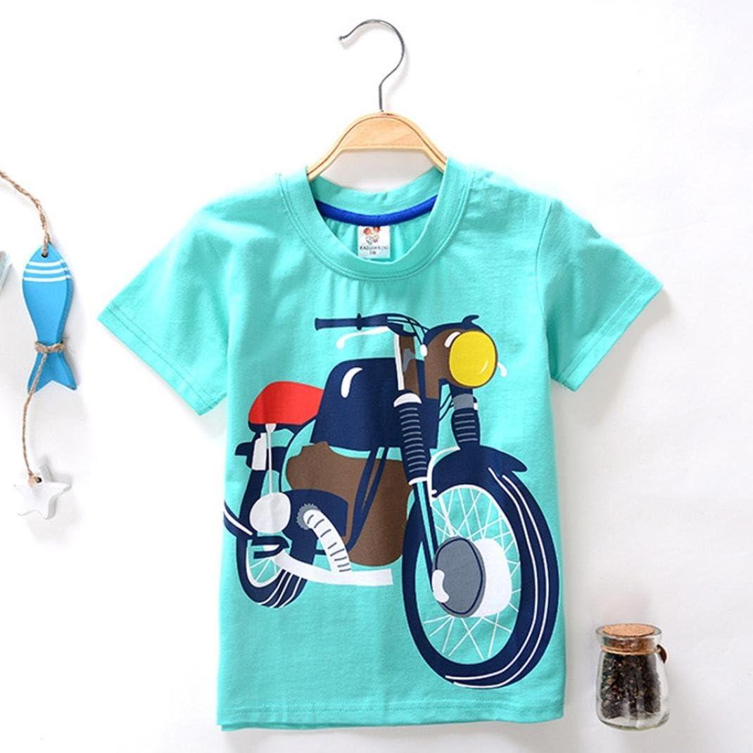 Toddler Cartoon Print Tees Tops Kid Girl Boy Short Sleeve Summer Cotton T-shirts