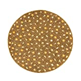 SARO LIFESTYLE 442.GL15R 4-Piece Beaded Design Placemat Set, 15-Inch, Gold, Round