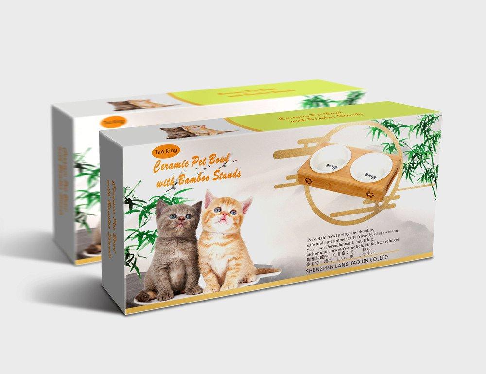Tao King Katzennäpfe Keramik Set mit Bambus Ständer 2 x 0.25 l