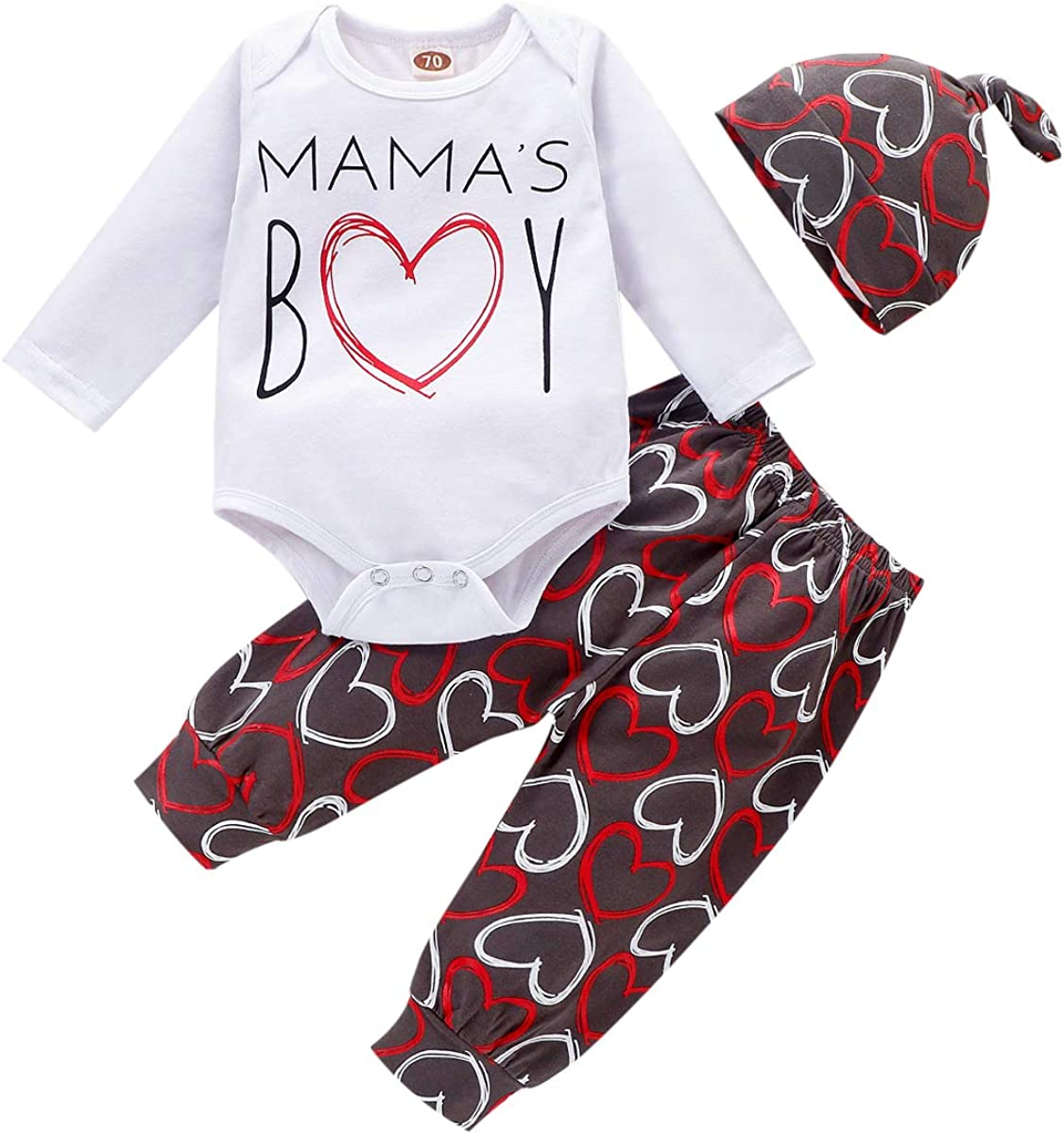 Newborn Infant Baby Boys Valentines Day Outfits Mamas BOY Printed Romper+Long Pants+Little Man Hat 3Pcs Clothes Set