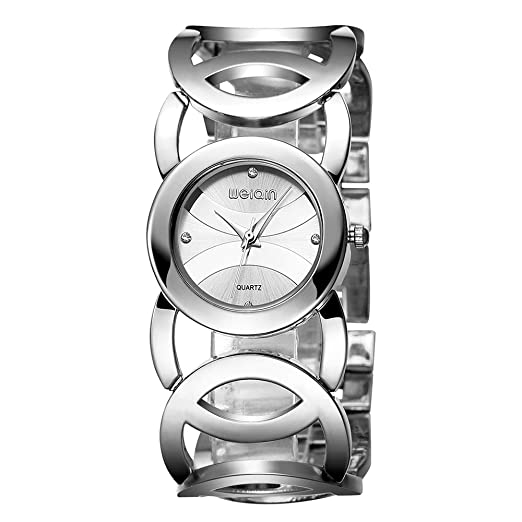 Relojes Mujer con Pulsera de círculo Calado, Escala de Diamantes de imitación Relojes de Pulsera de Lujo, Plateado: Amazon.es: Relojes