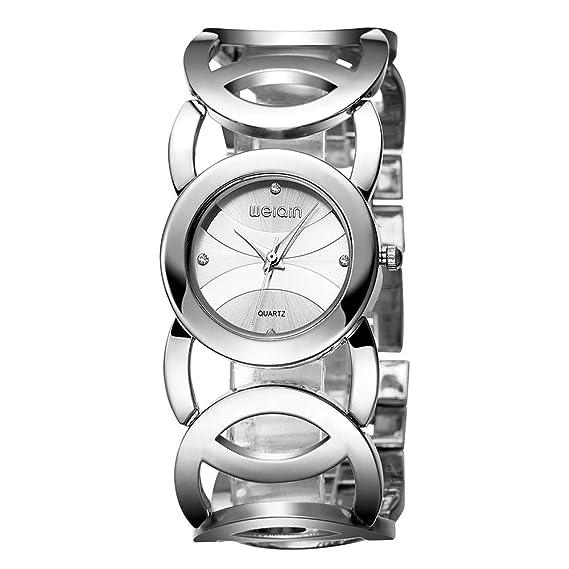 Relojes Pulsera Diamante de Imitación Hueco Grande Números Arábigos Relojes Mujer Acero Inoxidable