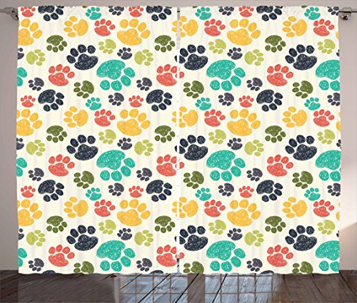 Ambesonne Dog Lover Curtains, Cute Hand Drawn Paw Print Doodles Circular Pattern Children Drawing Style Animal, Living Room Bedroom Window Drapes 2 Panel Set, 108 W X 63 L inches, Multicolor