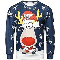 Sweatshirt Femme Imprimé,ELECTRI Rétro Pull Noël Grande Taille Fantaisie Christmas Pull Top Tricoté Manches Longues