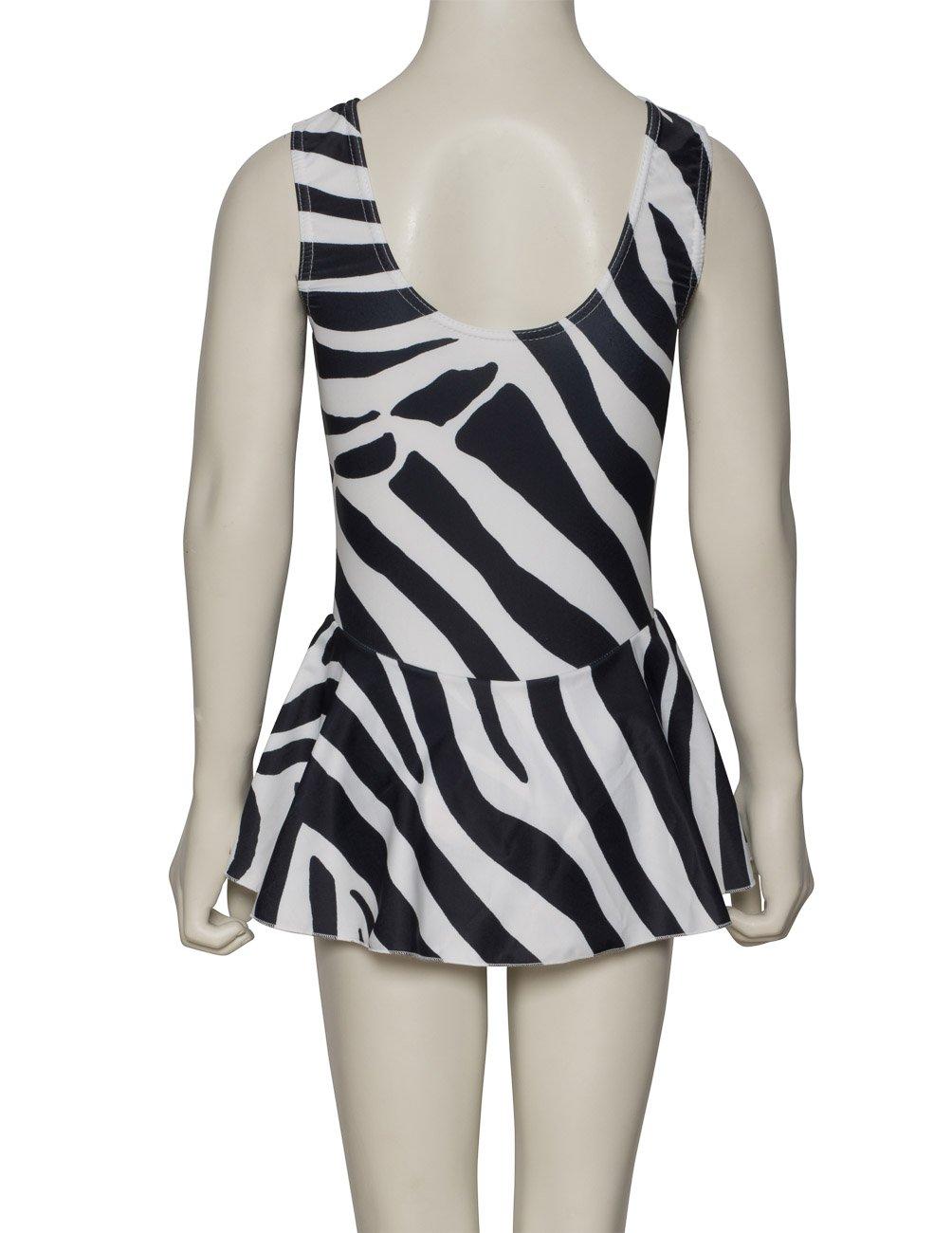 Katz Dancewear Girls ladies Leopard Zebra Or Tiger Animal Print Sleeveless Ruched Leotard /& Attached Skirt KDR005