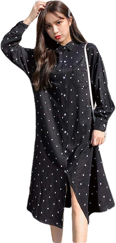Vestidos premamá de Mujer Camisa de Lunares de Solapa de ...