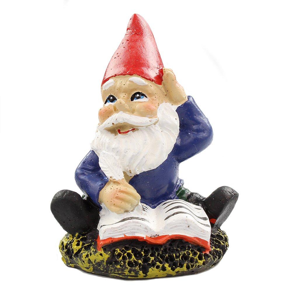 NW Wholesaler Fairy Garden Supplies - Gnome Figurine - Miniature Gnome Writing in a Book