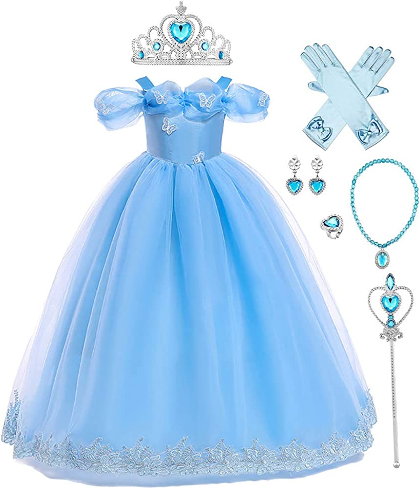 IMEKIS Disfraz de Cenicienta para niños y niñas, disfraz de mariposa de hadas para cumpleaños, Halloween, Navidad, carnaval, cosplay, fiesta