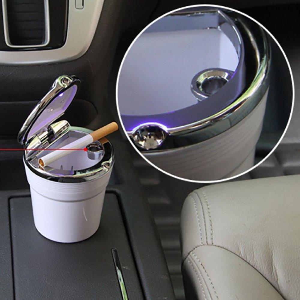 9 x 7,5 cm Mitef color negro Cenicero port/átil para coche con luz LED y sistema anti humos