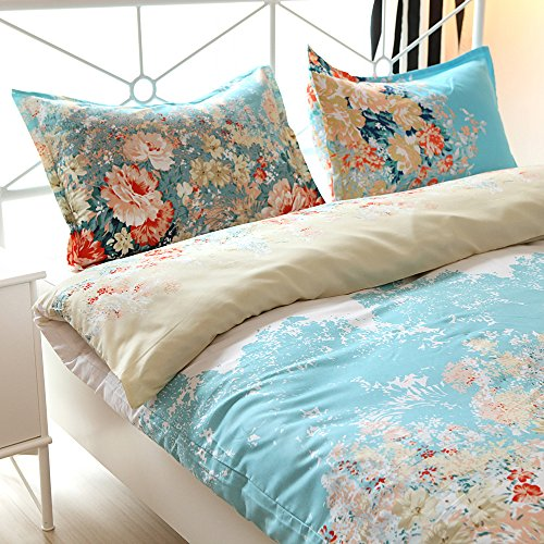 (Vaulia Lightweight Duvet Cover Set, Vintage Flower Pattern Design - King Size )