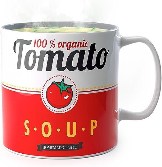 Balvi - Tomato mug de cerámica para Sopa. Apto para microondas y ...