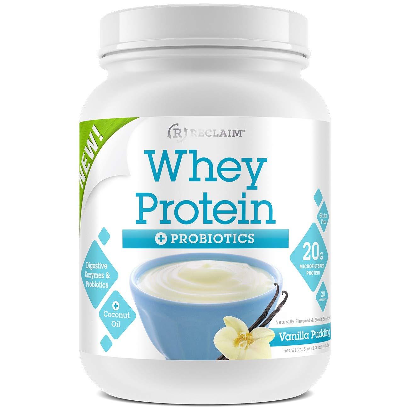 Complete Nutrition Reclaim Whey Protein Powder Probiotics, Vanilla Pudding, 20g Protein, Gluten Free, Stevia Sweetened, 21.8oz Tub