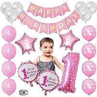 Baby Girl 1st Birthday Decorations, kit de Globo Rosa para Fiesta de Primer Cumpleaños para Niños, Globo de Confeti | Letrero Feliz Cumpleaños | Globos de Latex | Globo de Estrella | Globo con Número 1| Cinta de Oro(Rosa)