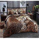 Beddinginn 4 Pieces 3d Bedding Sets Sexy Leopard Cheetah Animal Print 100% Cotton Material Duvet Cover Set,Bed Fashion(Queen size)