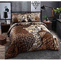 Beddinginn 4 Pieces 3d Bedding Sets Sexy Leopard Cheetah Animal Print 100% Cotton Material Duvet Cover Set,Bed Fashion(Full size)