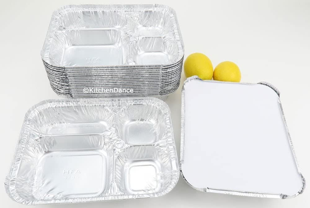Disposable Aluminum 4 Compartment T.V Dinner Trays with Board Lid by Handi-Foil #4145L (25)