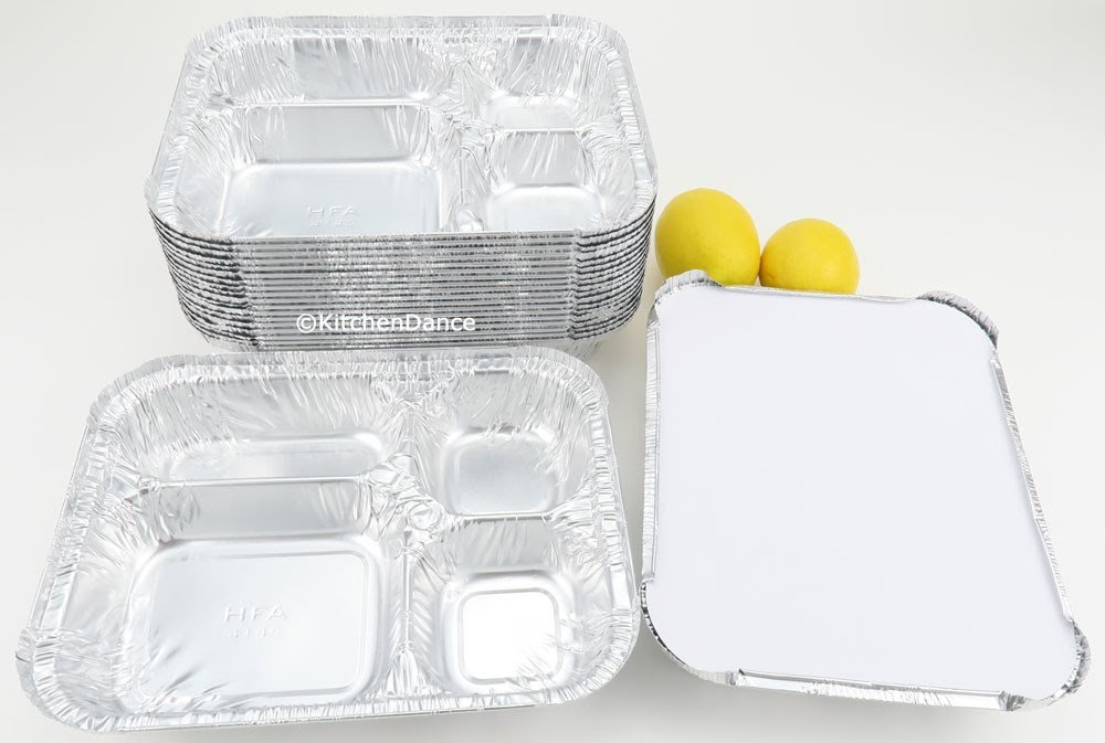 Disposable Aluminum 4 Compartment T.V Dinner Trays with Board Lid by Handi-Foil #4145L (100)