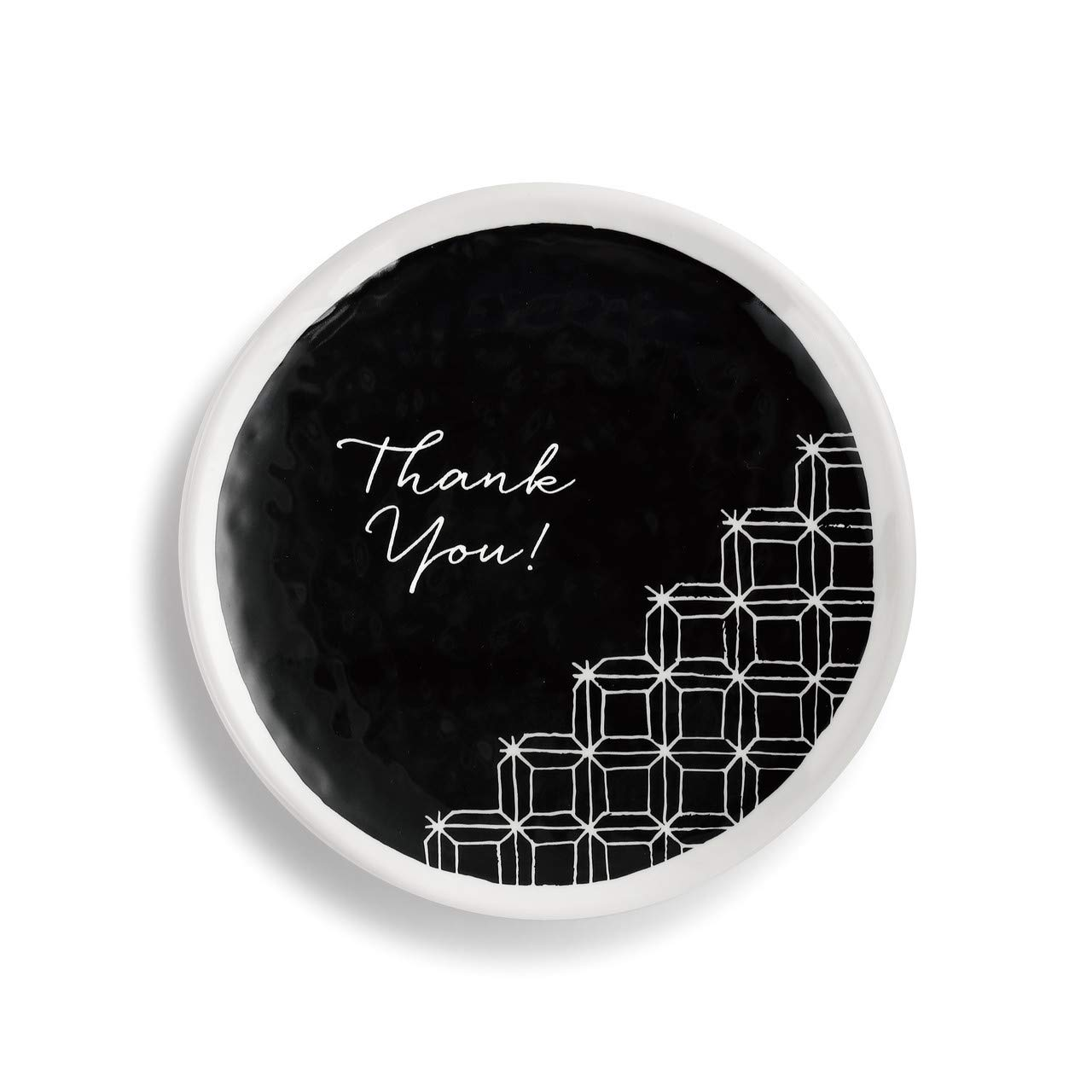 Thank You Pattern Black and White 6 x 6 Melamine Decorative Dessert Plate Demdaco