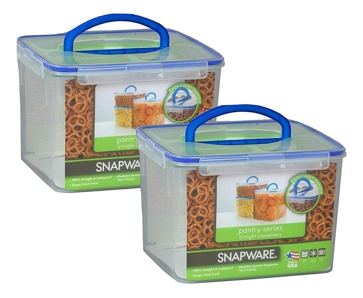 Snapware 1098436 29 Cup Large Rectangle Storage Container with Handle 2 Pack, Set of 2, Clear
