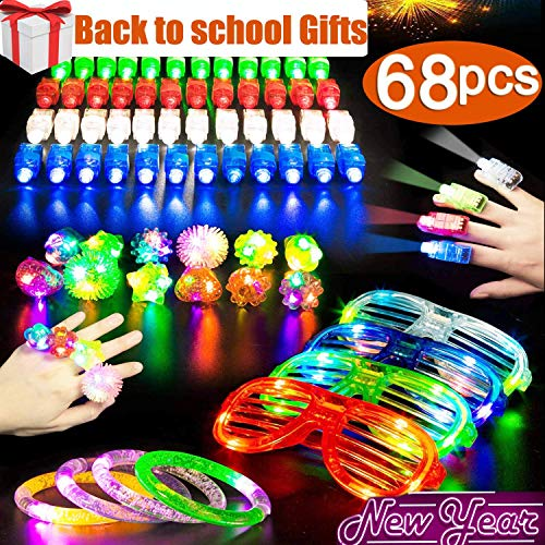 LED Glow Party Favors 68 PACK Light Up Toys Glow in the Dark Party Favors Supplies with 50 Figer Lights 10 Glow Rings 4 Bracelets 4 Neon Glasses For Kids Adults Holiday Birthday Gifts Rave Accessories