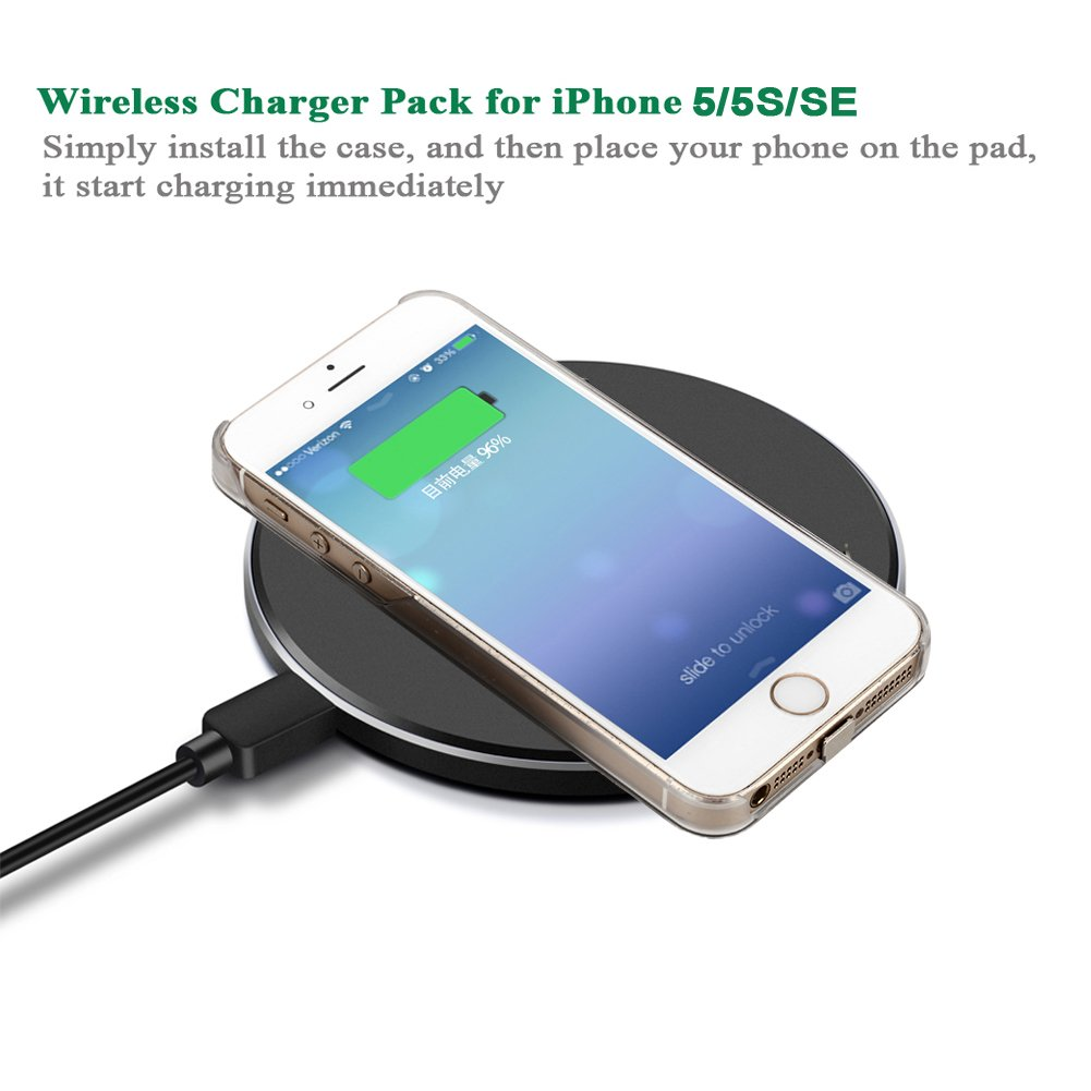 newest 375ff 2292a Antye Qi Wireless Charger Pack for iPhone 5 5S SE - Including Wireless  Charging Receiver Case and Aluminum Wireless Charging Pad Station  (Gold_Black)