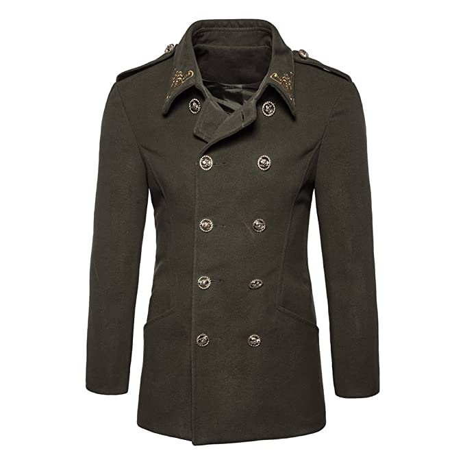 Hombres Otoño Invierno Doble Fila Botón de suéter Coat Blusa Ejercito Verde Small. Pasa ...