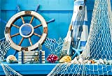LFEEY 10x8ft Blue Wooden Wall Nautical Birthday Backdrop Seashells Sailing Ship Wheel Helm Fishing Net Starfish Summer Party Photography Background for Events Videos YouTube Photo Studio Props