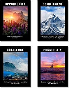 Black and White Motivational Poster Inspirational Conference Room Offfice Quotes Wall Art Decor Collection (Scenic-Black)