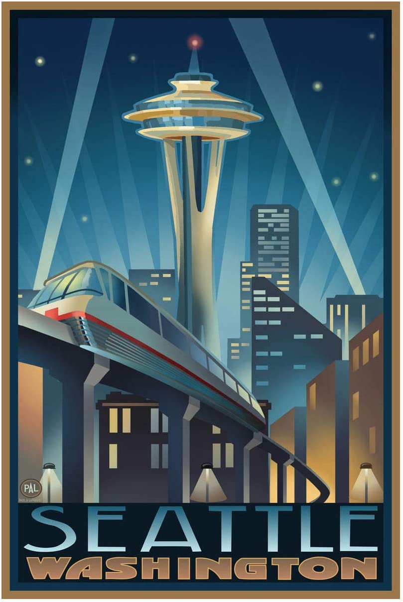 "Space Needle Seattle Center Seattle Washington Giclee Art Print Poster from Original Travel Artwork by Artist Paul A. Lanquist 12"" x 18"""