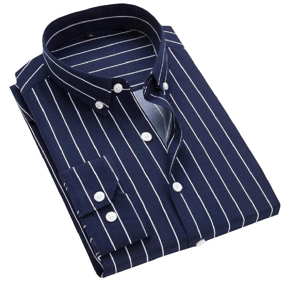 Cromoncent Men Long-Sleeve Top Striped Button-Down Cotton Shirt