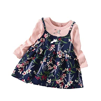 squarex 0-3 Years Old Baby Clothes, Autumn Baby Kids Toddler Girl Cute Rabbit Bandage Suit Mini Dress (6-12Months, Pink (Flower Print))