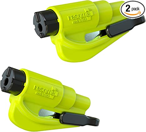 resqme 04.100.09 The Original Keychain Car Escape Tool Safety Yellow Seatbelt Cutter and Window Glass Breaker, 2 Pack