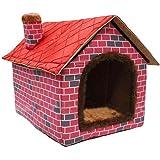 ushang interior suave cálido perro de mascota de la perrera, Gran Casa rojo camas con Mat