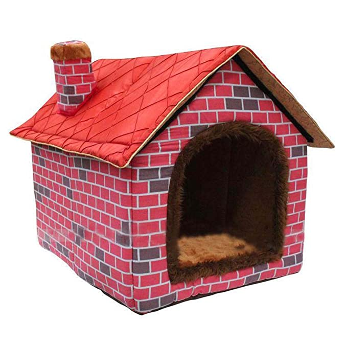ushang interior suave cálido perro de mascota de la perrera, Gran Casa rojo camas con Mat: Amazon.es: Productos para mascotas