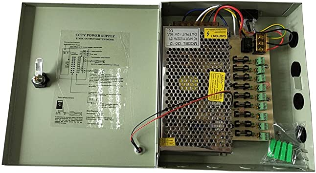 POWER SUPPLY Box FOR CCTV CAMERAS 12V 10AMP 9 Port