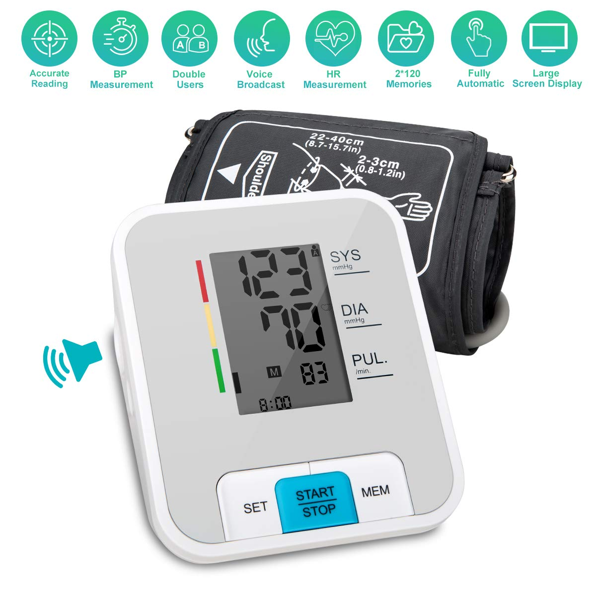 Blood Pressure Monitor, Upper Arm Blood Pressure Monitor with Wide-Range Cuff Digital Automatic Measure Blood Pressure and Heart Rate Pulse Large Screen and Voice Broadcast Powered by USB Or Battery