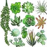 12 PCS Artificial Succulents Plants, Fake Succulents Assorted Faux Succulents in Flocked Green