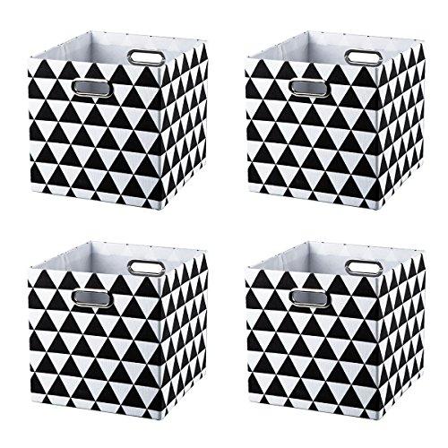 BAIST Cube Storage Bins,Nice Foldable Fabric Bed Storage Cube Bins Box Basket for Cubby Playroom, Set of 4