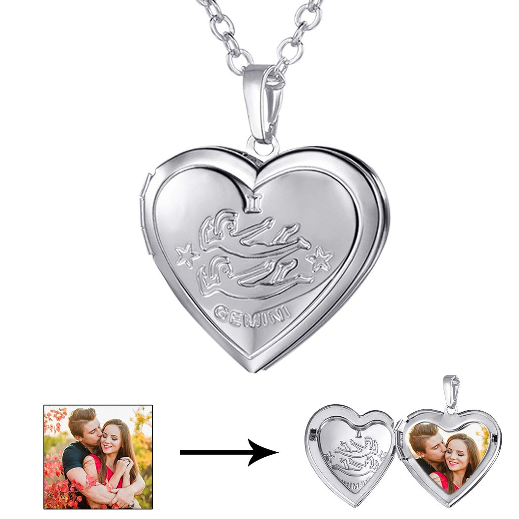 U7 Heart Shaped Photo Locket Pendant Necklace Platinum Plated Horoscope Zodiac Sign Gemini Jewelry, Unisex Style by U7