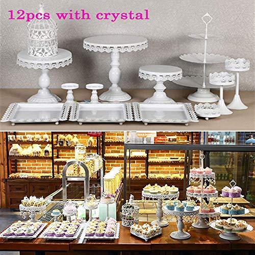 Cake Holder Cupcake Stand Cake Dessert Holder with Pendants and Beads,Wedding Birthday Dessert Cupcake Pedestal Display,White (12) ()