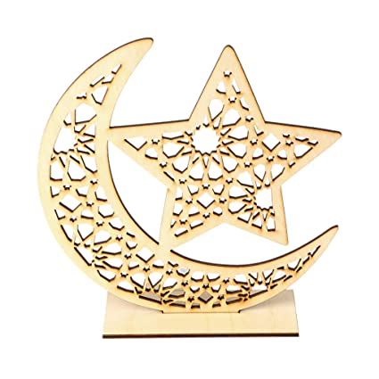 4c006e230 Amazon.com: Wooden Eid Mubarak Muslim Ramadan, Moon Star Plate Pendant  Decoration Ornament, DIY Home Party Supplies: Home & Kitchen