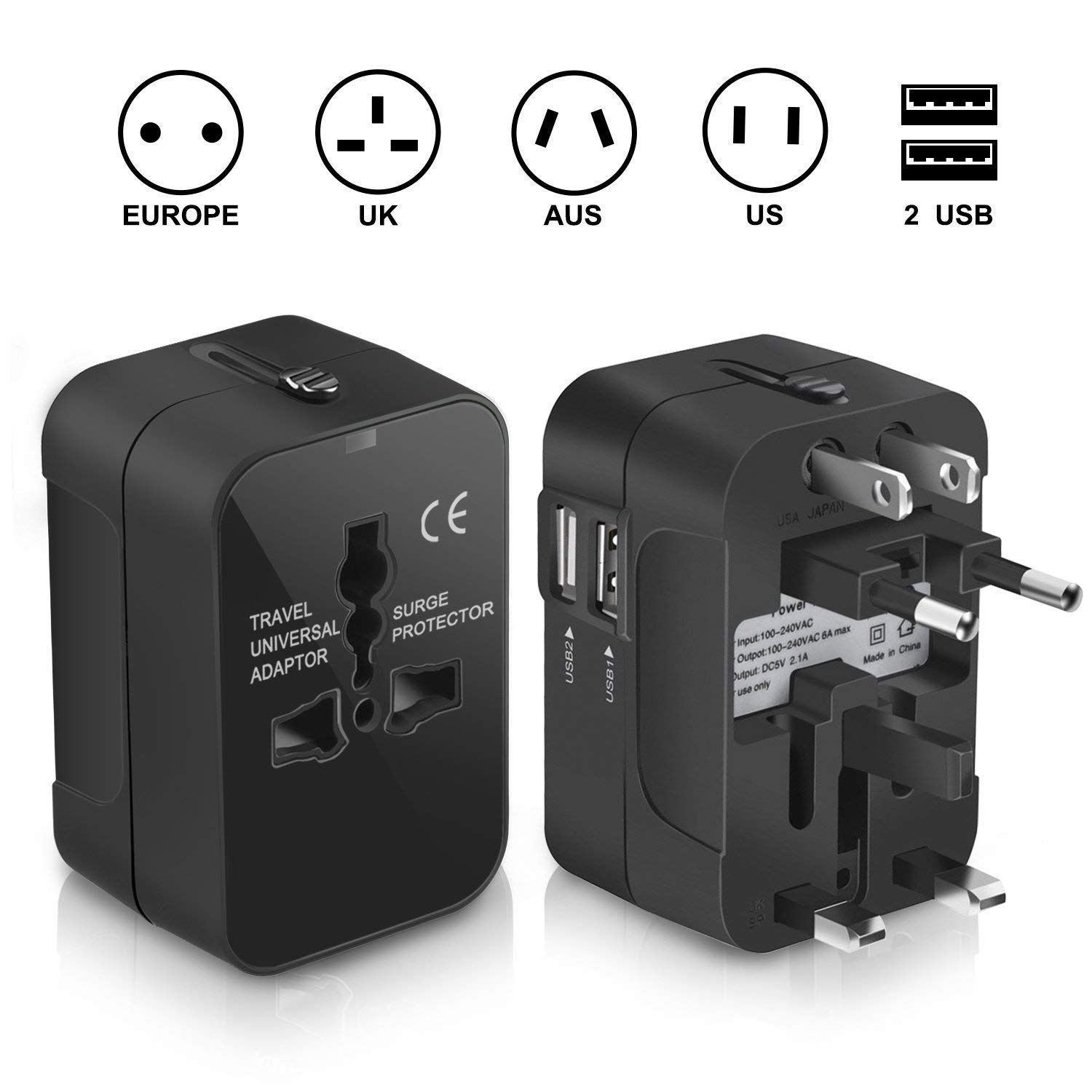 Travel Adapter Trvaadpta Universal All in One International Worldwide Wall Charger AC Power Plug Adapter with Dual USB Ports for USA EU UK AUS 180 Countries