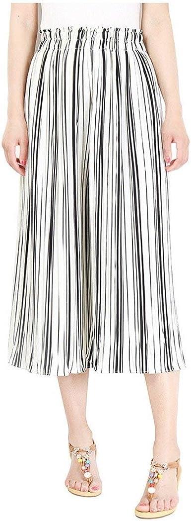Pantalon Anchos Mujer Verano Elegantes Moda Casual 3 4 Pantalones Cintura Media Rayas Verticales Golpear Los Pantalones Clasico Especial Pantalones De Tiempo Libre Mujeres Amazon Es Ropa Y Accesorios