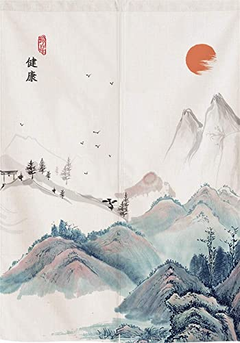 SK Studio Japanese Noren Doorway Curtain Tapestry Panel Room Divider Home Decoratio Chinese Painting Style 1 33.46×59.1inch 85x150cm